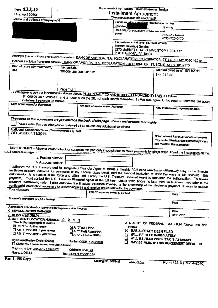Installment Agreement Tabb Financial Services