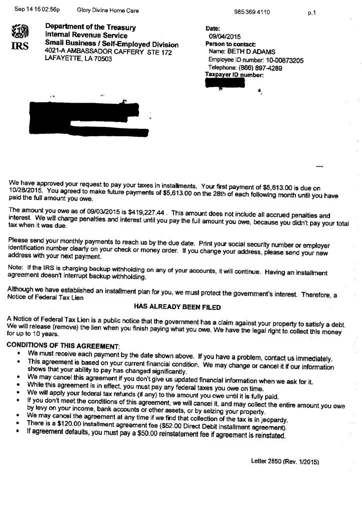 Installment agreement tabb financial services platinumwayz